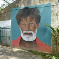 Portrait at the entrance of the laundry compound