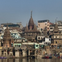 View onto the ghats from the river